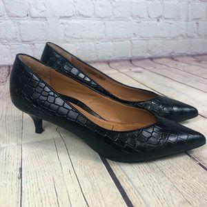 NWOT Vionic Josie Black Leather Croc Embossed Kitten Heel Pumps
